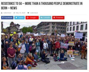 Více než tisíc lidi demonstrovalo ve švýcarském Bernu proti 5G dne 19. května 2019