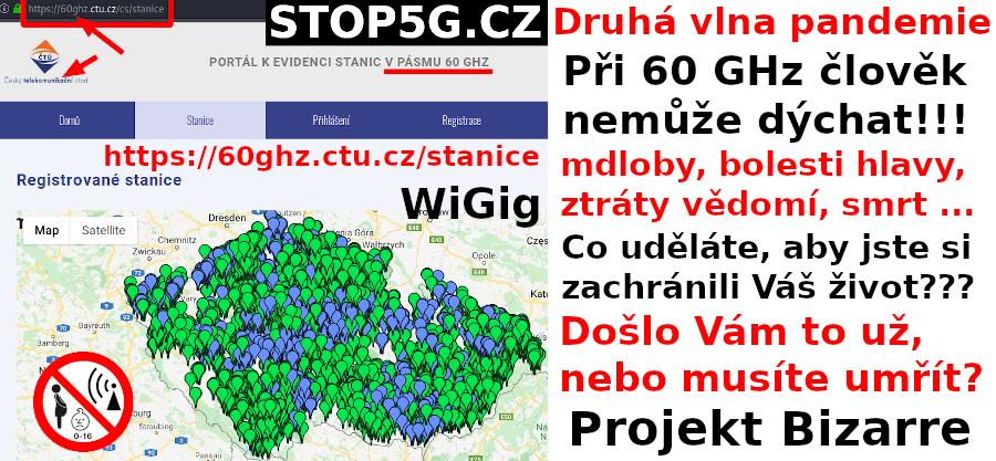 Druhá vlna Pandemie – 60GHz – Mapa pokrytí 5G – Nemůžete dýchat – Genocida – Projekt Bizarre – WiGig – Česká republika