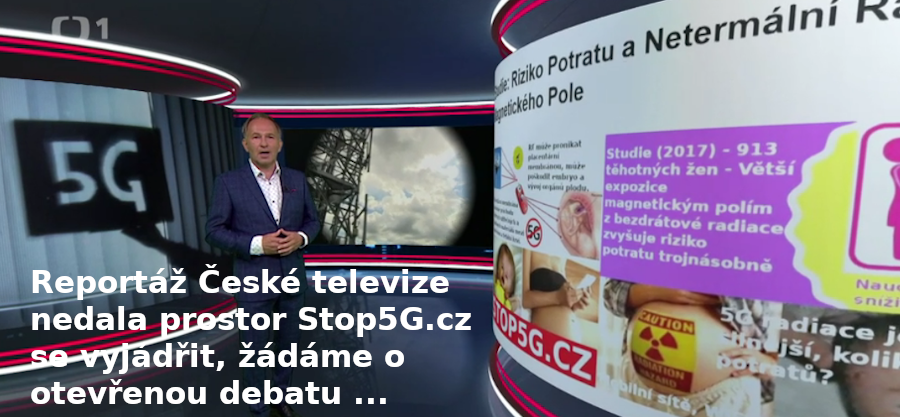 Česká televize nedala prostor zástupcům Stop5G – Reportáže ČT – Spuštění 5G sítě v Česku – 5G Útočí